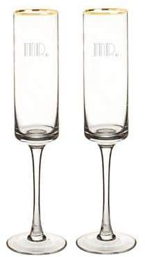 Cathy's Concepts Mr. and Mr. 8 oz. Gatsby Gold Rim Contemporary Champagne Flutes