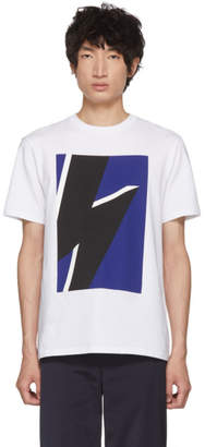 Neil Barrett White and Blue Pop Art Thunderbolt T-Shirt