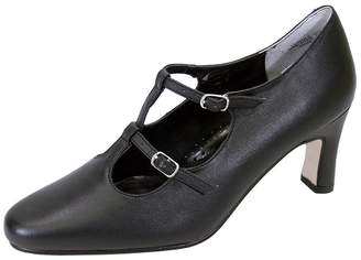 Helena PEERAGE Women Extra Wide Width Leather T-Strap Double Buckles High Heel Pumps 7