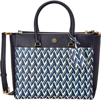 Tory Burch Robinson Printed Double-Zip Leather Tote