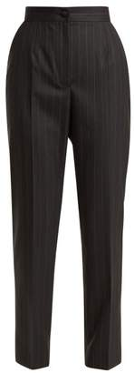 Dolce & Gabbana Pinstripe High Rise Trousers - Womens - Black Multi