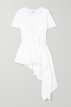 Alexander McQueen Draped Cotton-jersey T-shirt - White