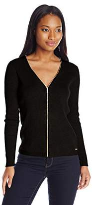Calvin Klein Women's Ribbed Zipper-Front Cardigan Sweater