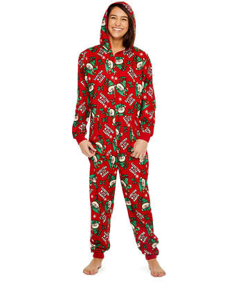 Asstd National Brand Fleece Onesies One Piece Pajama Red Elf Print-Womens