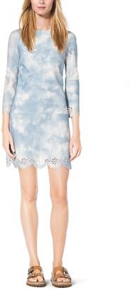 Michael Kors Tie-Dye Scalloped Suede Shift Dress