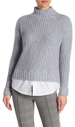 Romeo & Juliet Couture Mock Neck Faux Layer Sweater