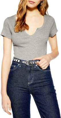 Topshop Jersey Grey Marl Crop Top