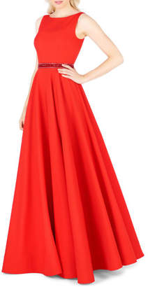 Mac Duggal High-Neck Sleeveless Pleated A-Line Gown w/ Beaded Waist