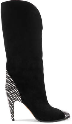 Snake-effect Leather-trimmed Suede Knee Boots - Black