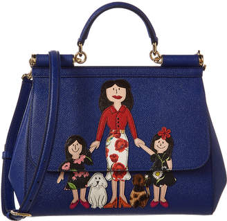 Dolce & Gabbana Medium Sicily Family Patch Leather Satchel