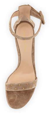 Gianvito Rossi Portofino Studded Suede Ankle-Wrap Sandals