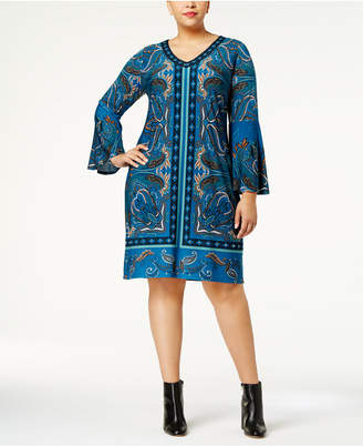 INC International Concepts I.n.c. Plus Size Paisley-Print Bell-Sleeve Dress, Created for Macy's