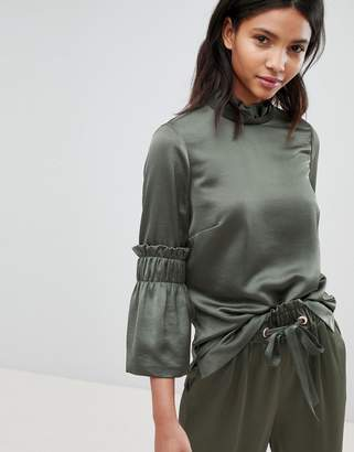 Ted Baker Ted Says Relax Frilled Sleeve High Neck Top