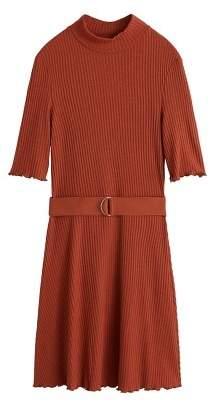 MANGO Belt ribbed dress