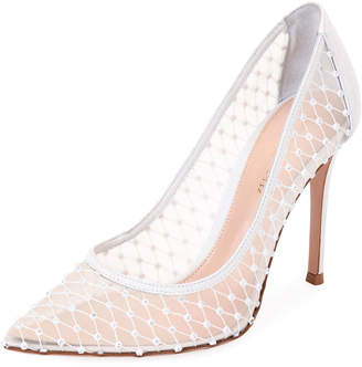 Gianvito Rossi Crystal Mesh Pointed Pumps