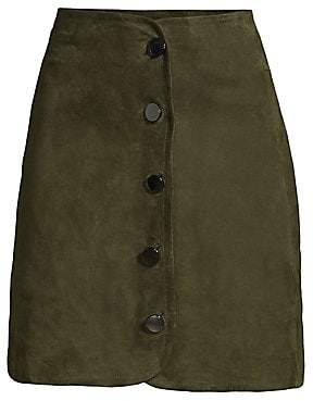 Elie Tahari Women's Ginger Button-Front Stretch Suede A-Line Skirt