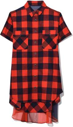 Sacai Buffalo Check Tunic in Orange/Navy