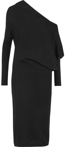 TOM FORD - One-shoulder Cashmere And Silk-blend Midi Dress - Black