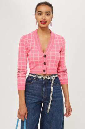 Topshop Check Cropped Cardigan
