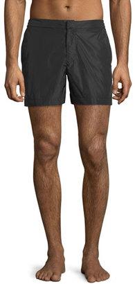 Orlebar Brown Bulldog Shiny Mid-Length Swim Trunks, Black $125 thestylecure.com