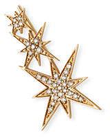 Sydney Evan 14K Rose Gold Triple Diamond Starburst Ear Climber Earring