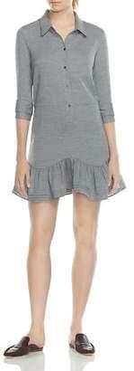 Halston Flounced Front-Button Shirt Dress