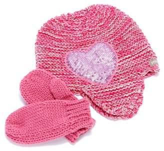 Peppercorn Kids Sequin Heart Beanie & Mitten Set (Baby, Toddler, Little Girls, & Big Girls)