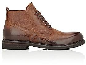 Barneys New York MEN'S GRAINED LEATHER LACE-UP BOOTS-BROWN SIZE 8 M