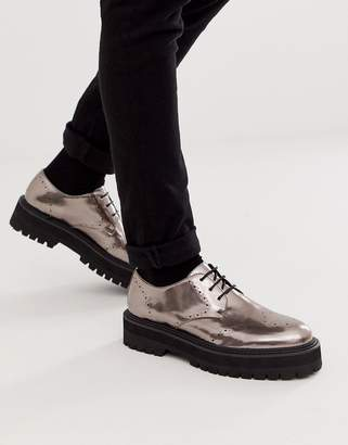 Asos Design DESIGN lace up shoes in gunmetal faux leather on raised chunky sole