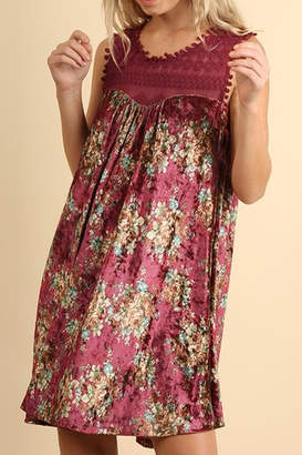 Umgee USA Floral Velvet Dress