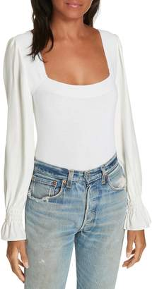 Rebecca Taylor Silk Sleeve Merino Wool Sweater