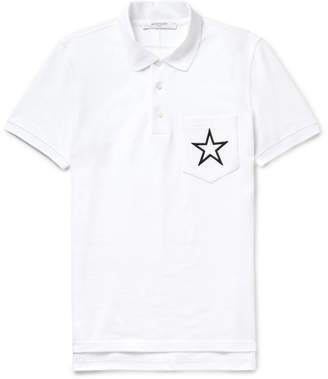 Givenchy Cuban-Fit Embroidered Cotton-Piqué Polo Shirt
