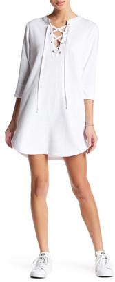Allen Allen 3/4 Sleeve Lace Up Dress $108 thestylecure.com