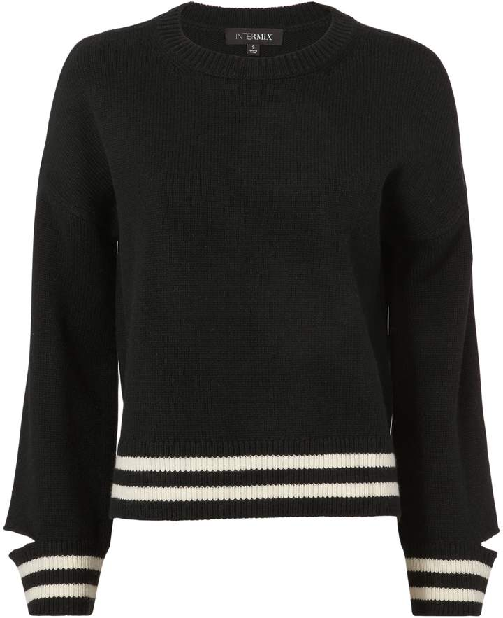 EXCLUSIVE FOR INTERMIX Bowie Stripe Cropped Knit Top