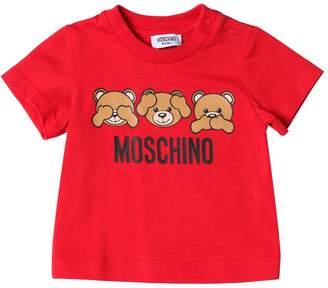 Moschino Logo Printed Cotton Jersey T-Shirt