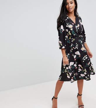 Yumi Petite Flower Print Wrap Dress