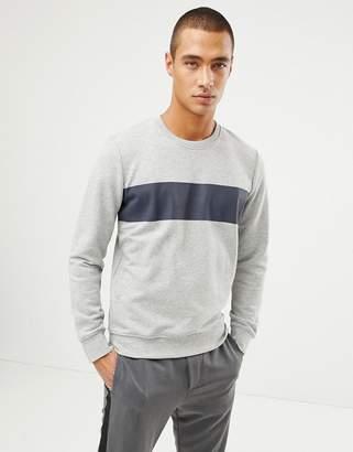 Selected Sweatshirt With Panel Stripe