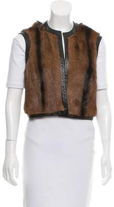 Ralph Lauren Leather-Trimmed Fur Vest