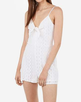 Express Tie Front Lace Romper