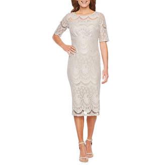 Rabbit Rabbit Rabbit DESIGN Design Short Sleeve Lace Sheath Dress