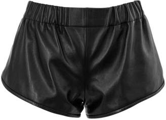 Saint Laurent Black Lambskin Shorts.