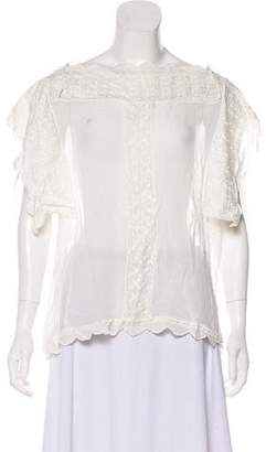 Etoile Isabel Marant Short Sleeve Embroidered Top