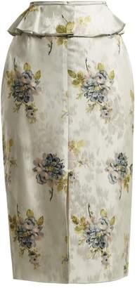 Brock Collection Sylvi Floral Silk Jacquard Peplum Skirt - Womens - Blue Print