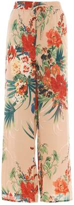 Quiz Stone And Orange Wide Leg Floral Trousers