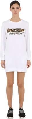 Moschino Leopard Bear Cotton Sweater Dress