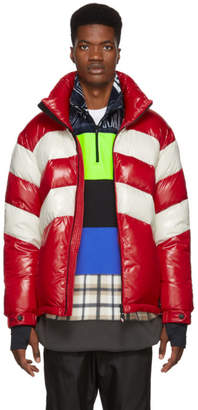 Moncler Red and Off-White Down Golzern Jacket