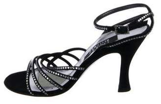 Stuart Weitzman Crystal Embellished Satin Sandals