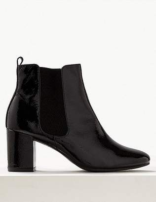 Marks and Spencer Leather Block Heel Chelsea Ankle Boots