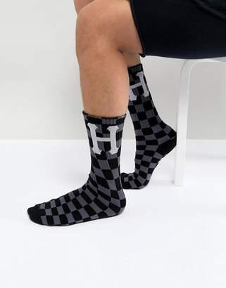 HUF Blackout Checkerboard Socks In Black