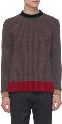 Hunting World Contrast border rib knit sweater